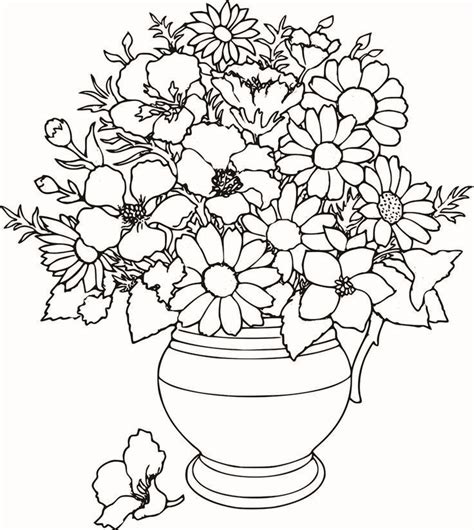 coloring page flowers in vase colouring pages detailed flower colouring pages