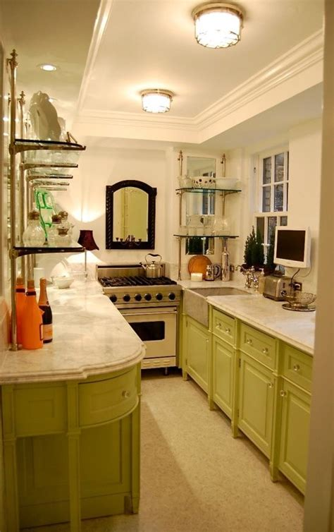 simple creativity small cabinets for fabulous galley kitchen green cabinetry mixed with