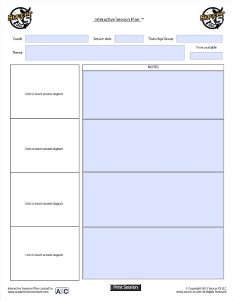 soccer coaching plan template images