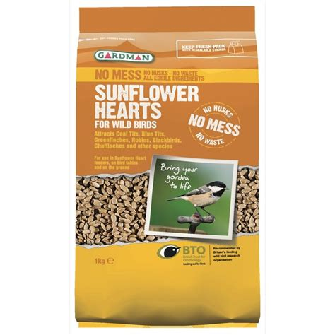 sunflower hearts in 3 size bags for wild birds