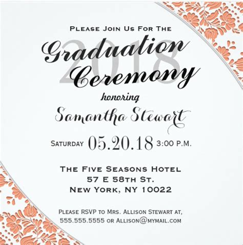 invitation card template graduation 69 sle invitation cards free premium templates