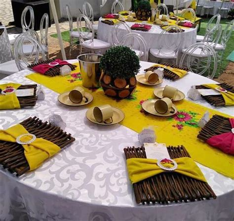 Yellow and Pink Tsonga Traditional Wedding Decor