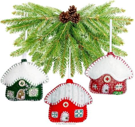 paper christmas ornaments patterns snowy cottage ornaments 3 quot paper sewing pattern my fabric heaven
