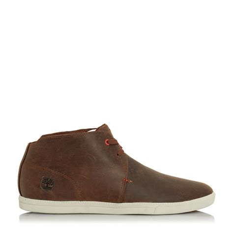 chukka boots leather lyst timberland leather lace up chukka boots in brown