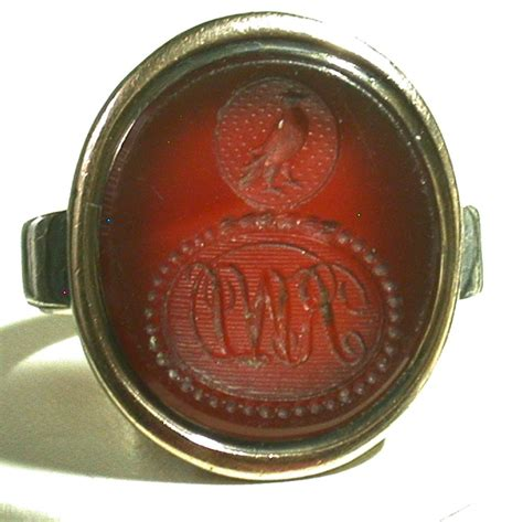 antique carnelian intaglio ring late 18th century size 8