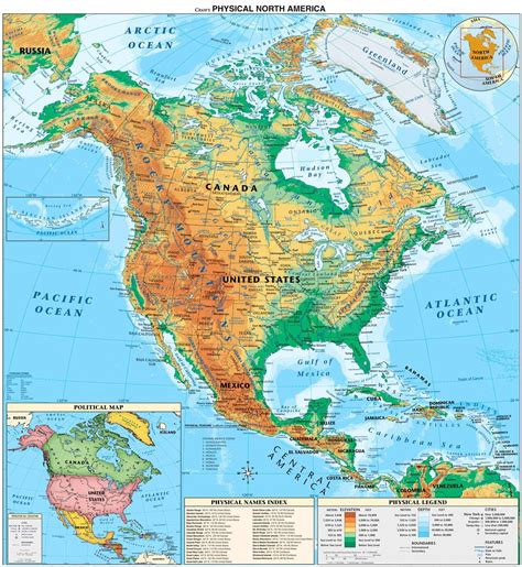 geographical map of geography physical maps of america