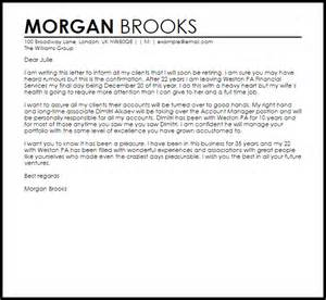 cover letter to client resignation letter to clients resignation letters