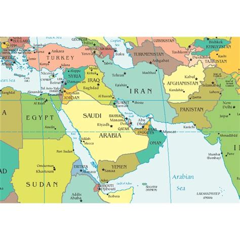 middle east map of countries and capitals middle east capital map