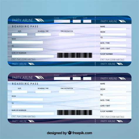 Airline Ticket Template Vector Free Download Plane Ticket Template