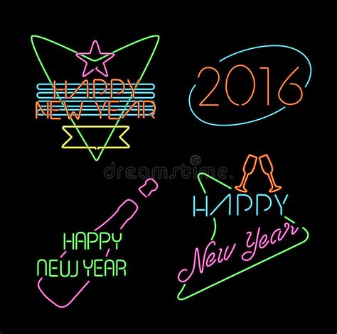 new year label vector new year neon light set label retro 2016 elements stock