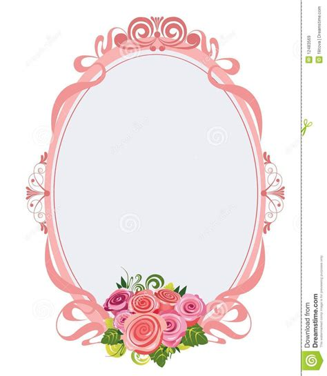 pink oval frame with roses stock vector illustration of