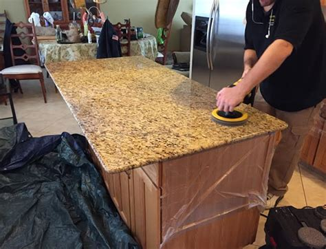 Buffing Marble Countertops by Granite Cleaning Polishing Restoration In Chicago Nw