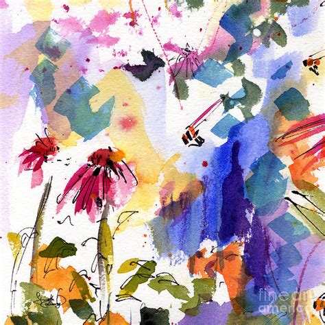 expressive abstract expressive watercolor flowers and bees painting by ginette