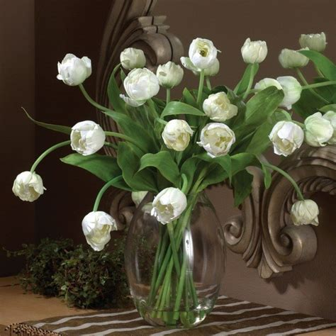 Artificial Tulips In Glass Vase by Artificial White Tulip Arrangement In Glass Vase Ebay