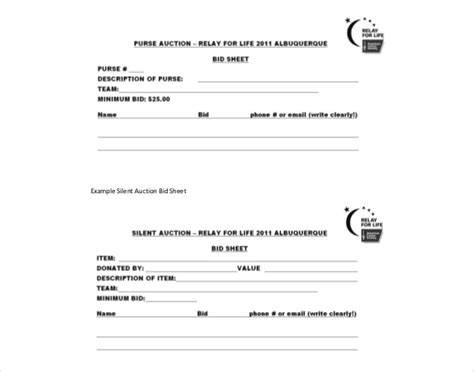 free auction templates silent auction bid sheets free bid sheets for silent