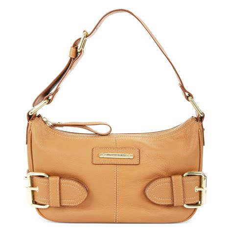 franco sarto top zip shoulder bag in gold camelot