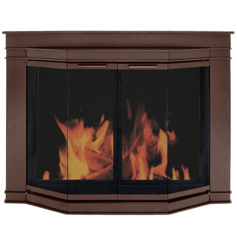 How To Use A Fireplace With Glass Doors by Shop Pleasant Hearth Glacier Bay Rubbed Bronze Medium