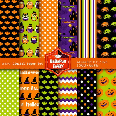 printable halloween wrapping paper halloween digital papers print at home diy scrapbooking