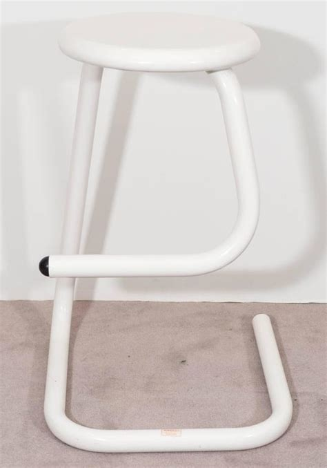 Gibo Creations Bar Stools by Pair Of White Tubular Paperclip Bar Stools For Amisco For