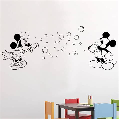 mickey and minnie blowing bubbles wall stickers decals