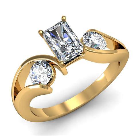 radiant past present future swirl engagement ring
