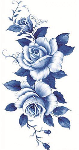 misha henna tattoo amazon beautiful blue and white roses temporary tattoos