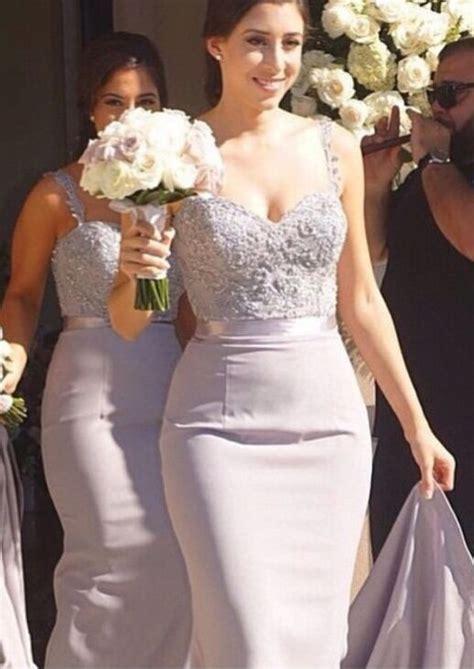 mermaid bridesmaid dresses beading straps bridal
