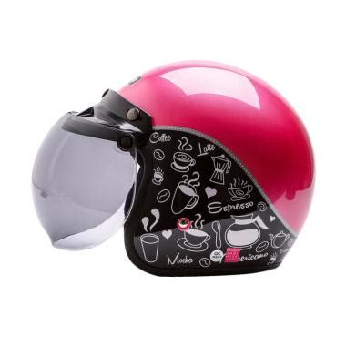 Helm Bogo Motif Hello Putih Pink 7 wto helmet retro bogo coffee hitam cokelat