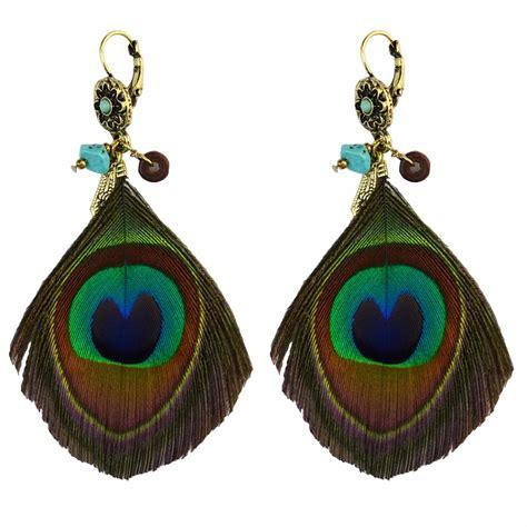 Handmade Drop Earrings - bohemian bronze flower handmade drop earring green peacock