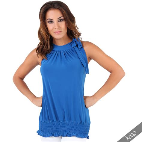 Top Blouse halter neck draped ruched top blouse flattering bow tie summer evening ebay