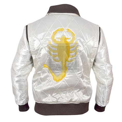 drive jacket drive white satin jacket with golden scorpion embroidery