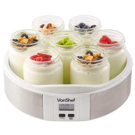 vonshef digital yoghurt maker 7 x 200ml yoghurt jars