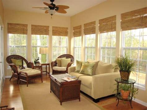 Windows Sunroom Decor Shades White Window Frames Painted Walls Beautiful Decorating Ideas For Sunroom Design