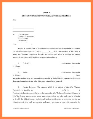 letter of intent to purchase property template 4 letter of intent to purchase property template