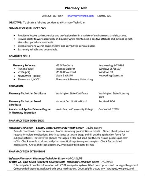 pharmacy resume format pdf 10 pharmacy technician resume templates pdf doc free premium templates