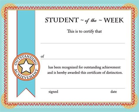 Free Printable Student Of The Week Certificate Back To School Must Haves Pinterest Student Award Template
