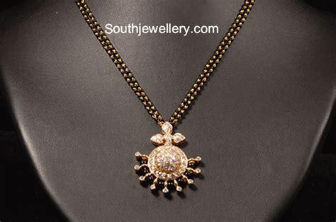 Home Design Diamonds Simple Black Beads Mangalsutra Chains Jewellery Designs