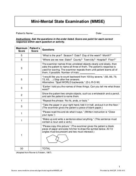 test mentale mini mental state examination