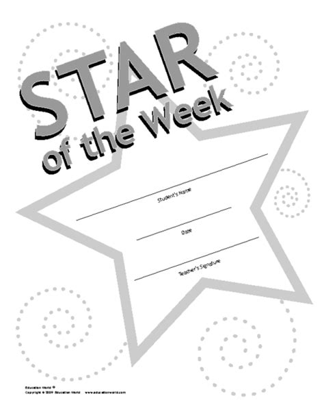 printable star of the week form star of the week award template education world