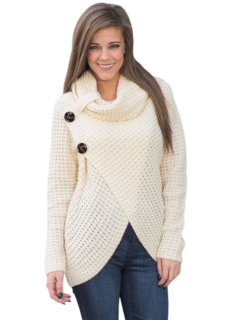 Cowl Neck Sweater s white buttoned wrap cowl neck sweater roawe