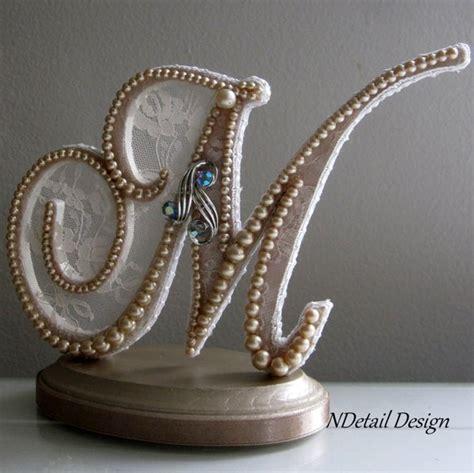Wedding Cake Topper Custom Monogram Letter M by NDetailDesign M Monogram Wedding Cake Toppers