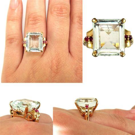 Ruby 9 05ct large deco 14k gold 9 05ct emerald cut aquamarine