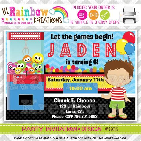 665 Diy Arcade Fun And Games 4 Party Invitation Or Thank You Card Diy And Crafts Game And Fun Arcade Invitation Template