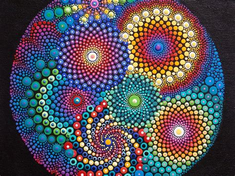 dot pattern art mandala painting 11x14 canvas board original art by