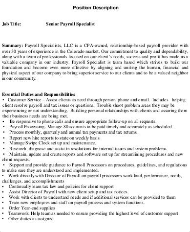 Description For Payroll Specialist by Payroll Specialist Description Sle 8 Exles In Word Pdf