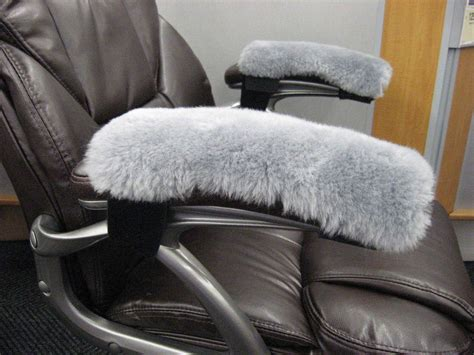grey real merino sheepskin arm rest covers pads office