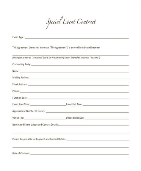 7 Event Contract Form Sles Free Sle Exle Format Download Special Event Contract Template