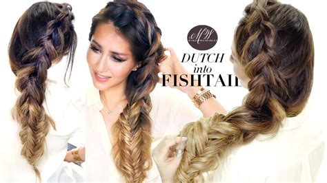 hair style using big braids how to big messy braid tutorial dutch into fishtail