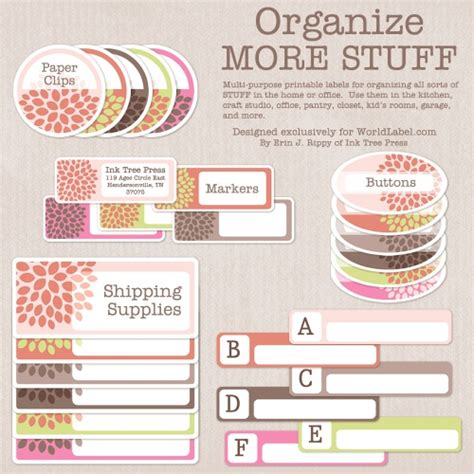home organization templates organizing labels for more stuff worldlabel