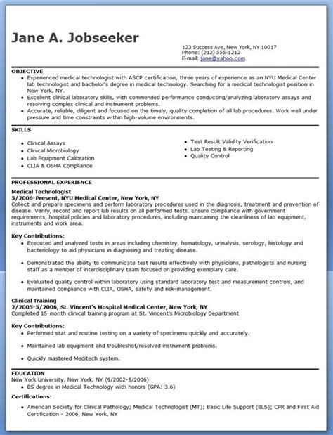 medical technologist resume sample medical resume resume template